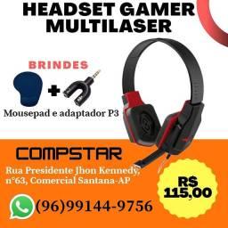 Headset Gamer Multilaser com brinde