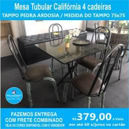Mesa Califórnia 4 cadeiras  Tampo Preto Tubular 75X75
