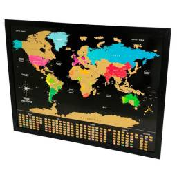 Pôster de raspar mapa mundi