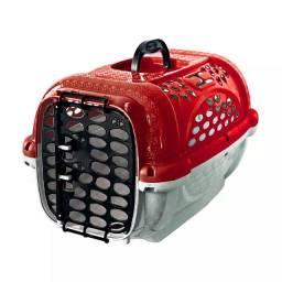 Caixa de Transporte Panther Pop Plast Pet Vermelha para Cães e Gatos