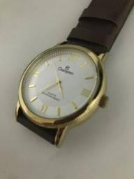 2996a9f5522 Relógio dumont feminino pulseira de couro dourado resistente água lindo  pouco usado