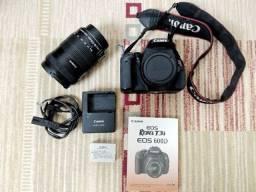 Câmera Canon t3i com lente 18-135mm + cartão e case