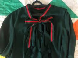 Camisa Elegante Verde Militar