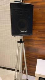 Mesa de som + microfone shure + caixa de som
