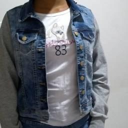 Jaqueta jeans com manga moletom