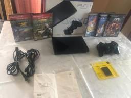 Videogame PlayStation 2 Slim na caixa + jogos originais - impecável