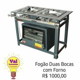 Fogão industrial 2 bocas e forno Novo