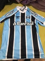 Camisa do Grêmio com todos os patrocínios 21/22 nos Tam G, GG