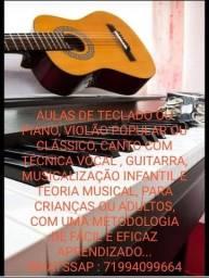 AULAS DE TECLADO OU PIANO, CANTO COM TÉCNICA VOCAL, VIOLÃO POPULAR E CLÁSSICO...