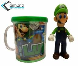 Boneco Luigi - Super Mario Bros + Caneca Personalizada - Loja Coimbra Computadores
