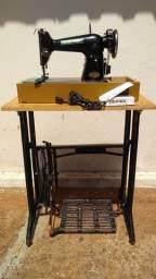 Máquina de costura antiga elétrica 220v+maleta+mesa