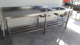 Pia Manipulação e Preparo 2cubas até 2900x650mm comprimento- Ideal Inox