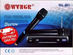 Microfone Duplo Sem Fio Profissional Vhf Wg-005 - Bivolt - Igreja - Novo - Entrega Grátis