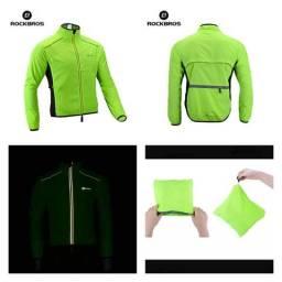 2b4f00a8d51 Jaqueta Corta Vento Rockbros Verde Neon Ciclismo MTB SPEED