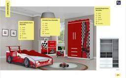 Cama de Solteiro carro vermelho (colchão não incluso)