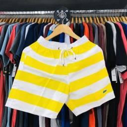 Bermuda Shorts Summer Beach Branco com Amarelo