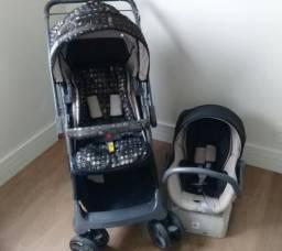 Carrinho galzerano e bebê conforto