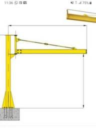 Pórtico giratório 260°, altura aprox. 3mts, comprimento braço aprox. 3mts