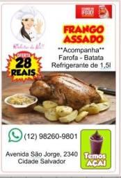 Frango assado + batata + farofa + refri 1,5L