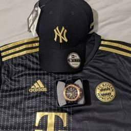 Título do anúncio: Kitzao camisa de time boné relógio