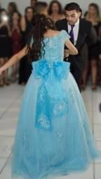 Vestido Debutante Princesa Azul Tiffany (Venda/Aluguel) 2 em 1