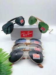 d235d2f5dae Óculos de sol Modelo Rayban Aviador Couro 1 linha Proteção UV400