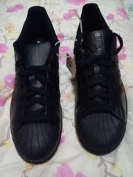 Tênis Adidas masculino, couro preto, original, n:43