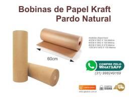 Bobina Papel Kraft Pardo 100% Natural Gramatura de 90 Gramas   Papel Grosso   Embalagens