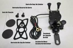 Suporte Celular Garra Para Moto + Carregador 12V Embutido e Capa Prova D'água