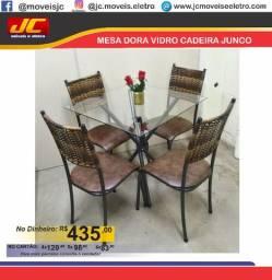 Mesa de vidro Dora com 4 cadeiras b
