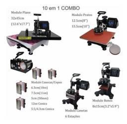Prensa Térmica para Sublimação e Transfer - 10 módulos em 1 Com Impressora Sublimática
