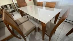 Título do anúncio: Mesa seis de jantar madeira e acabamento laka