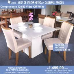 Mesa de Jantar 4 Cadeiras Celebrare medida do tampo 120X80