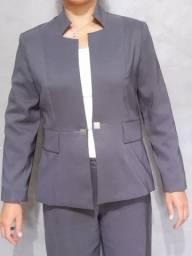 blazer feminino - gola especial - cinza
