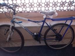 Bicicleta.  Azul e branco fucionando250