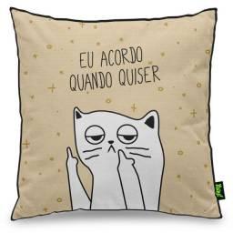 """Almofada Decorativa Gatinho Ranzinza """"Eu Acordo Quando Quiser"""""""