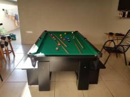 Mesa com 4 Pés | Mesa Preta | Tecido Verde | Modelo: FIDN7366