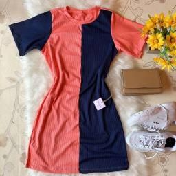 Vestido bicolor tamanho único