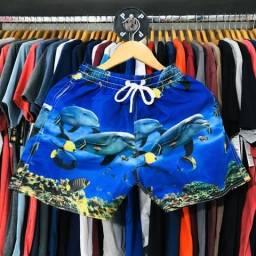 Bermuda Shorts Summer Beach Fundo do Mar