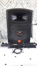 caixa jbl novo 200w alto falante de 15acompanha tripé estante