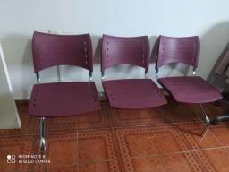 vende se cadeiras longarinas tres lugar em inox