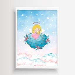 Arte Digital para Quadro Decorativo Infantil Anjinha