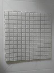 Pastilhas de Vidro, branca, placa de 30 x 30 x 0,4 cm, 2,3 x 2,3 x 0,4 cm.