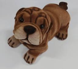 Cachorrinho decorativo de gesso aveludado por a penas  R$ 34,99