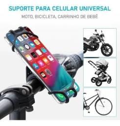 Suporte Celular Moto Bike Bicicleta Universal Silicone 360º, Aceito Cartão