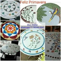 Tampo de mesa mosaico Flores passar os mandala