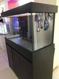 Aquario Extra Clear 360 Lts sexto vidro + Sump e Móvel