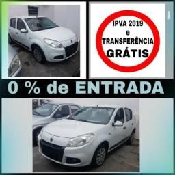 Sandero 1.0 - S/ entrada, IPVA e Transferência GRÁTIS - 2013