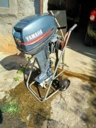 Vendo ou troco Motor Yamaha 15HP 2T, 1998, documentação ok! Todo revisado!