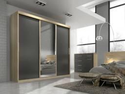 Guarda Roupa 3 Portas De Correr Nice C/espelho Cedro/grafite - Quarta divisão